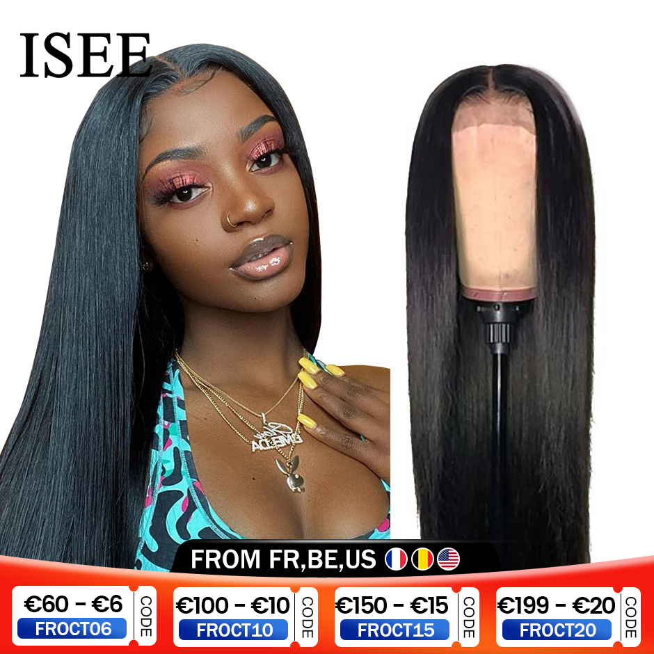 Malaysian Straight Lace Front Wig For Women Human Hair Wigs 4x4 Lace Closure Wig ISEE HAIR Straight 13x4 Lace Frontal Wig