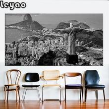 Noir et blanc brésil Rio de Janeiro paysage, peinture de diamant, diamants de broderie, mosaïque de diamant, point de croix, carré, rond