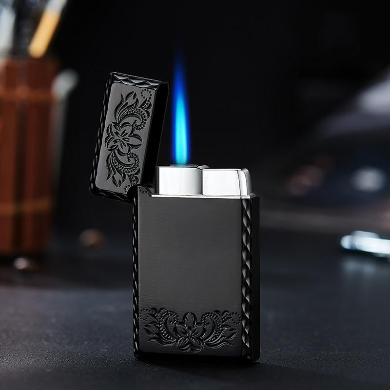 2020 New 1300C Blue Flame Butane Turbo Lighter Square Mini Gas Metal Lighters Smoking Accessories Cigarettes