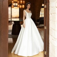 thinyfull vintage satin wedding dresses sleeveless illusion boho a line pricness bridal gowns robe de mariee plus size vestidos