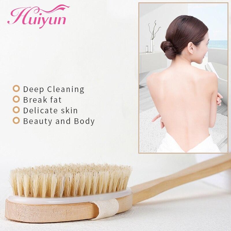 Huiyun Bathing Brush Natural Pure Boar Bristles Wet Dry Skin Body Soft SPA Brush With Handle Wooden Exfoliating Brushes brush scraper avs wb 6328 52 cm soft handle распушенная bristles 2 surface