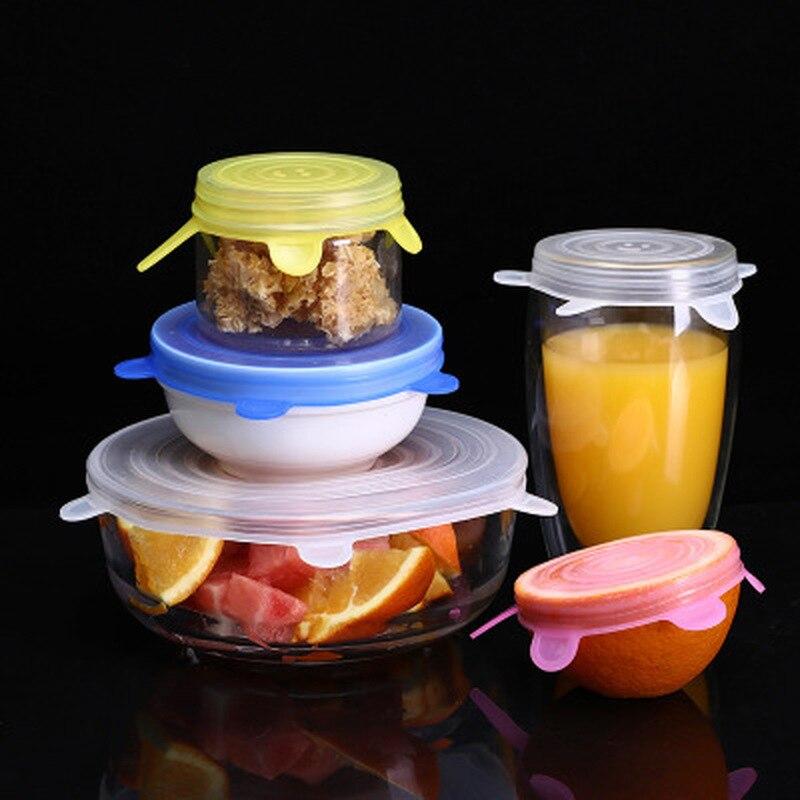Tapa de silicona de 12/18 uds, tapas elásticas, tapa Universal de silicona para cuenco, tapa de silicona, tapa de silicona para sartén para cocinar alimentos, funda fresca para microondas