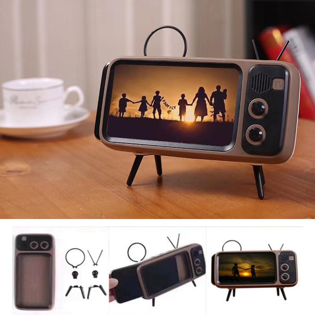 Portable Retro Mini Bluetooth Speaker TV Design Mobile Phone Holder