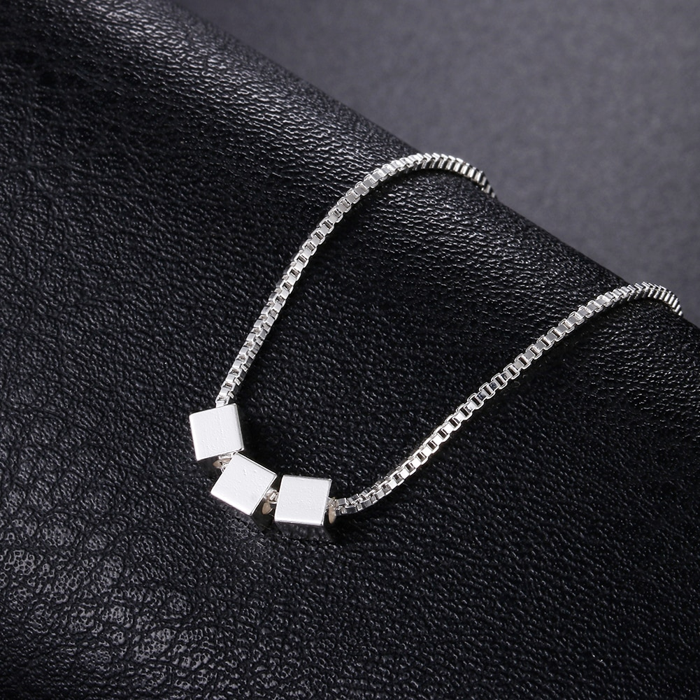 925 Sterling Silver Necklace 18 inches Box chain Simple Square cube triangle Pendant For Women Fashi