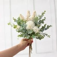 artificial flower bridal bouquet for wedding decoration fake silk hydrangea flowers bouquet for home christmas party diy decor