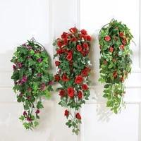 80cm artificial rose flower home decoration wedding party artificial hanging flower green plants indoor vine hanging basket