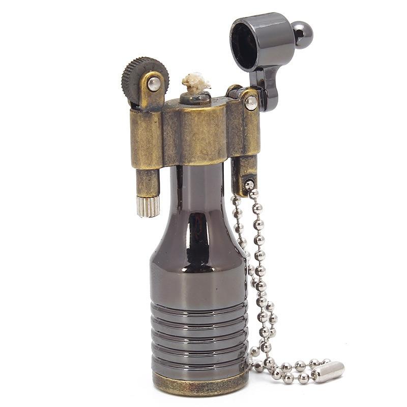Encendedor Retro Bullet Fire, mechero de pedernal con rueda de molienda, llavero...