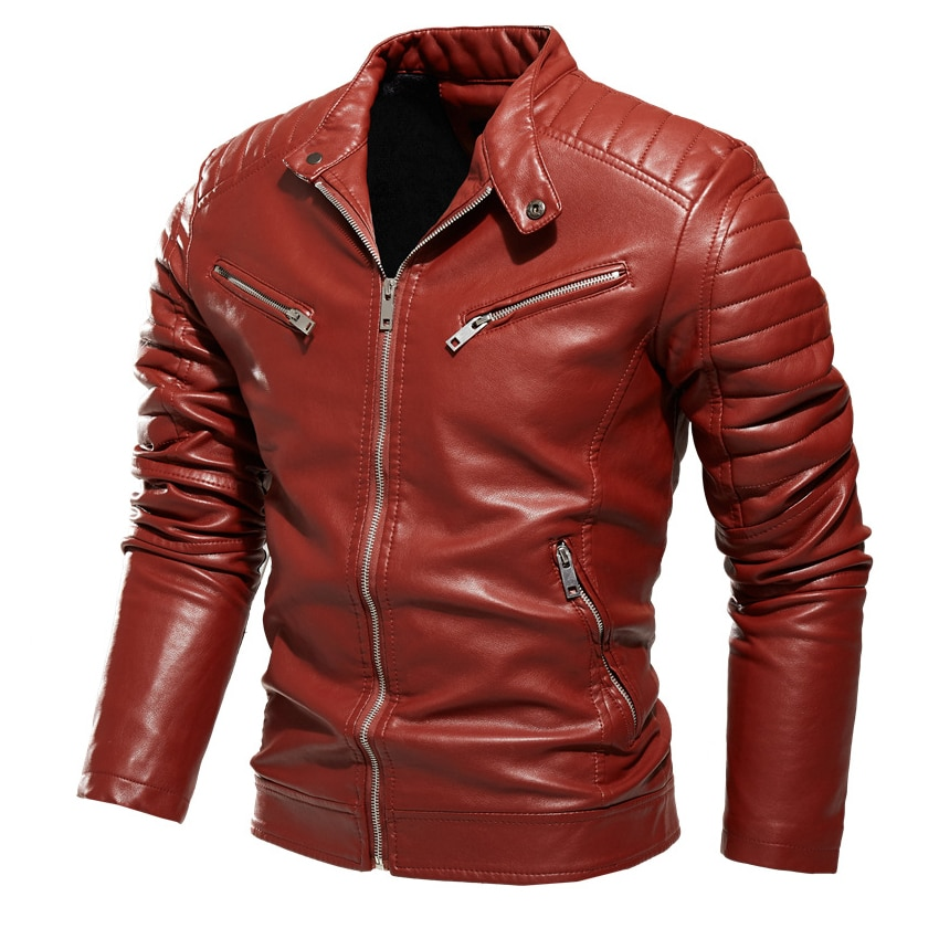 Thoshine Brand New Men Leather Jackets Solid PU Leather Jacket Man High Quality Spring And Autumn Motorcycle Coats Overwear Tops