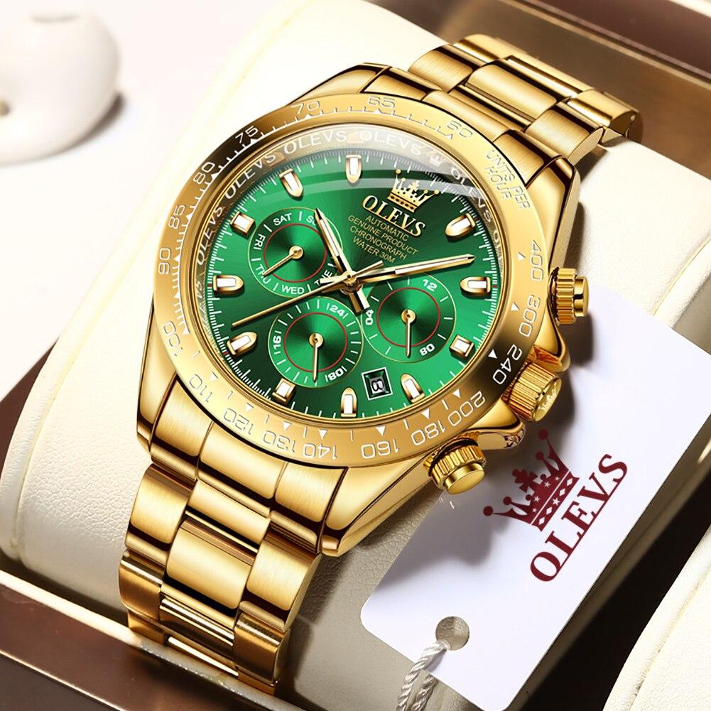 OLEVS Gold Men Sports Automatic Watch Luxury Men Waterproof Mechanical WristWatch New Fashion Casual Men Watch 6638