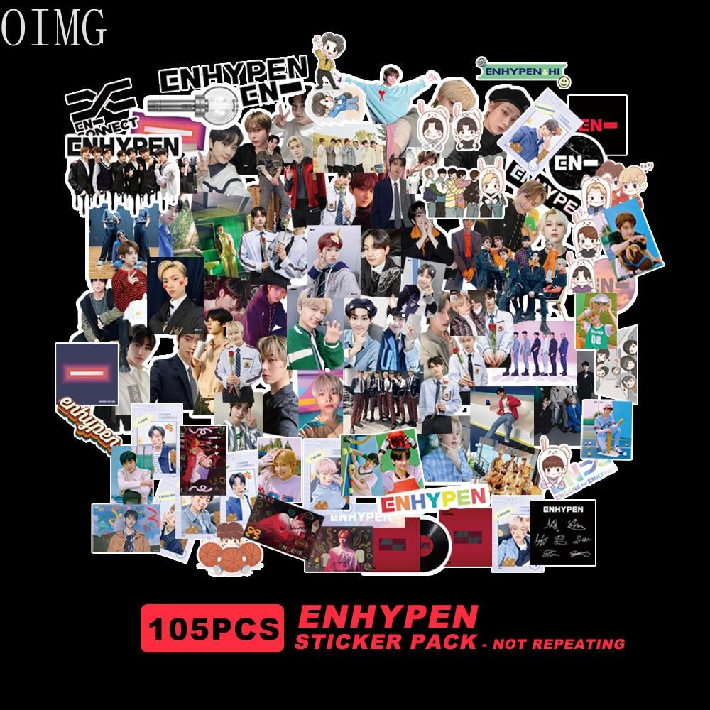 105 шт. наклеек ENHYPEN K-POP EN, высокое качество, HD фото, фотография, для багажа, ноутбука, канцелярские принадлежности