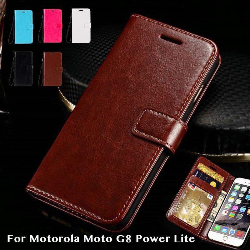 Funda de cuero de imitación para Motorola Moto G8 Power Lite carcasa de marco de silicona para Moto G8 Power Lite funda de negocios