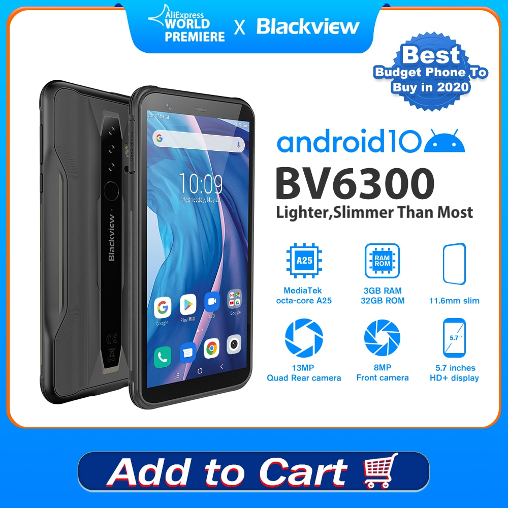 Blackview BV6300 5.7 Inch Rugged Android CellPhone IP68 Waterproof MobilePhone MT6762V 3GB+32GB Smartphone Octa Core 4380mAh NFC