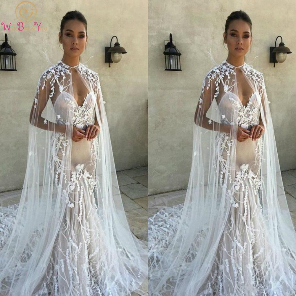 Vintage 2021 Wedding Wrap Lace Applique White Ivory Bridal Shawl Customized Jewel Neck Sleeveless Lace Plus Size Wedding Cape