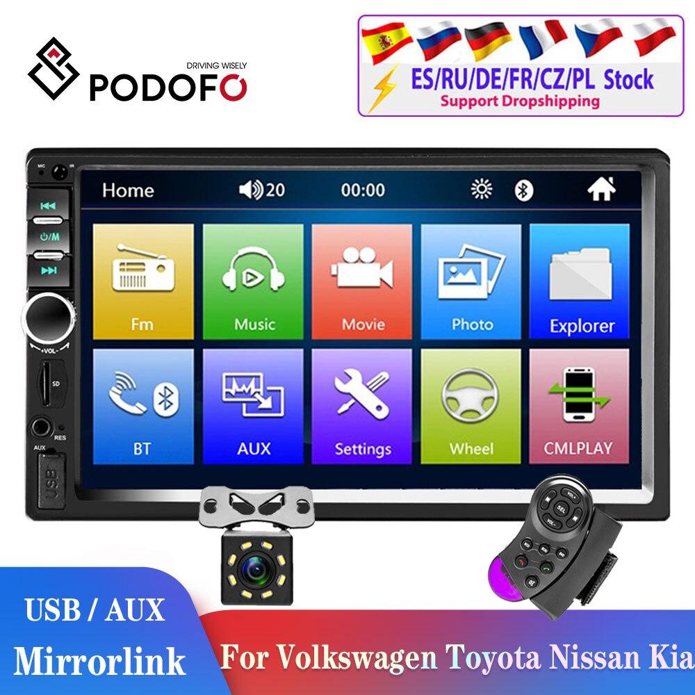 Podofo 2din car radio 2 din Car Multimedia Player 2DIN Autoradio Android Mirrorlink 2din Car Stereo MP5 Bluetooth USB FM Camera