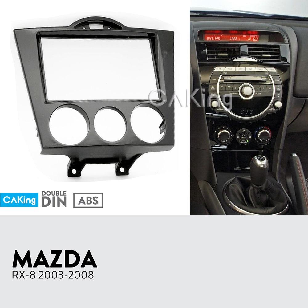 Double Din Car Fascia Radio Panel for 2003-2008 Mazda RX-8 RX8 Dash Kit Install Facia Plate Adapter Cover Bezel Trim Console