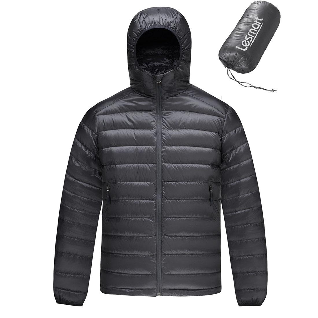 Men's Down Jacket Winter New Lesmart Fashion Hooded Warm Coats Male Lightweight Puffer 90% White Duck Down Parka Outwear