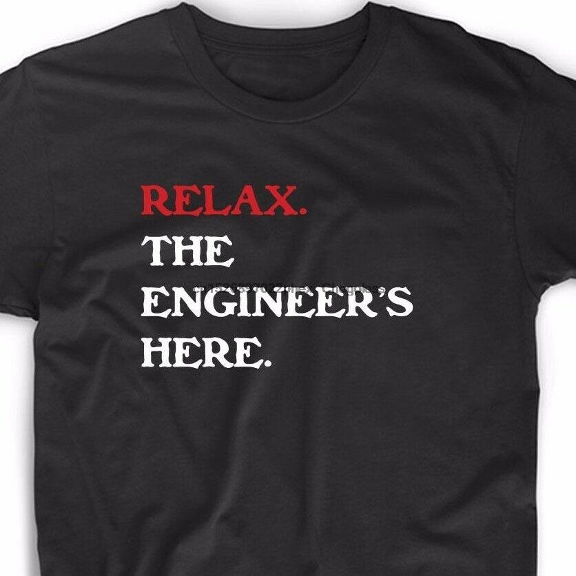 Relaxar o engenheiro aqui t camisa engraçado geek matemática nerd engenharia robótica t