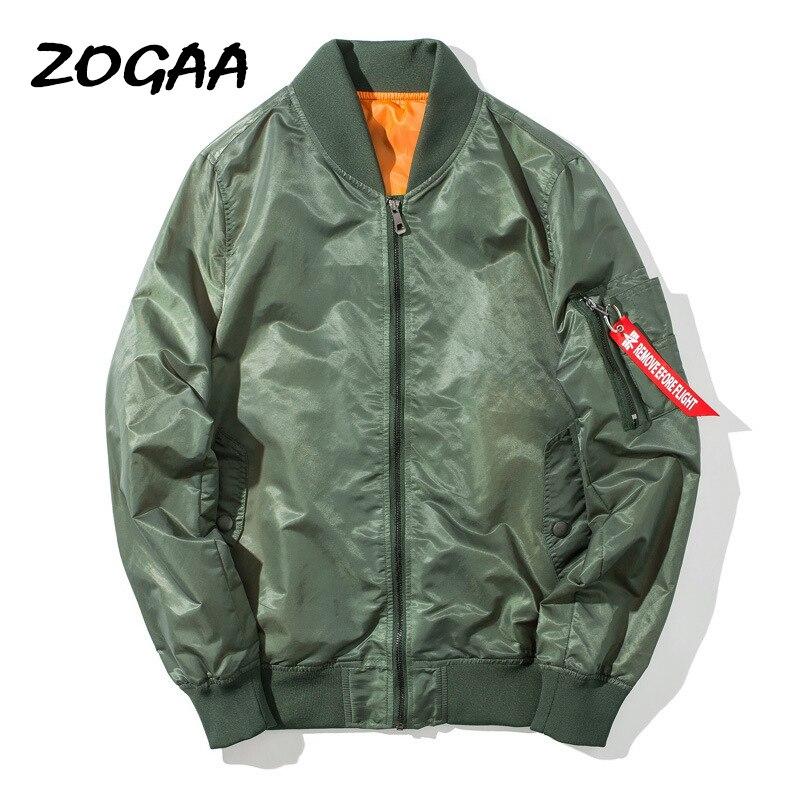 Мужская куртка-бомбер ZOGAA, однотонная Повседневная бейсбольная куртка-бомбер, универсальная простая Молодежная куртка большого размера на ...