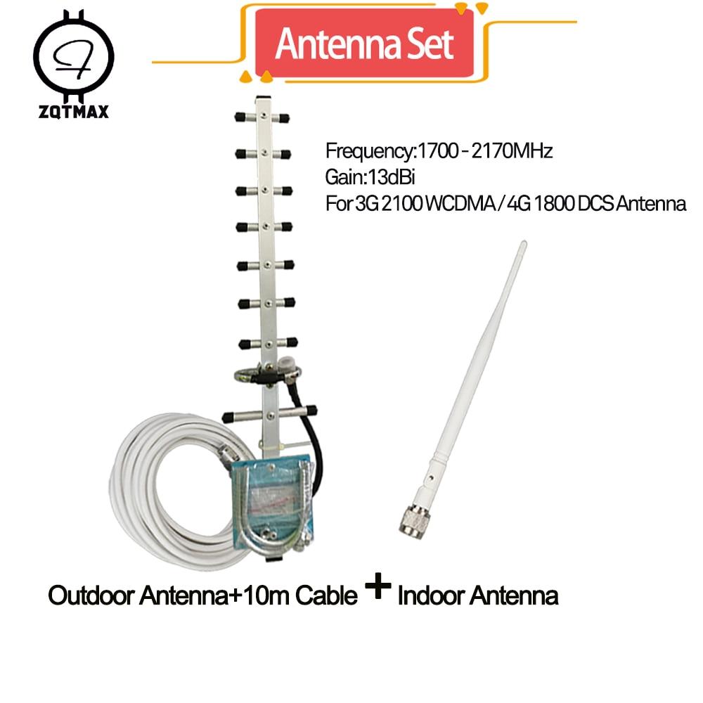 ZQTMAX – antenne yagi pour amplificateur de téléphone portable 3g, répéteur 2100, amplificateur de signal 2g 4g 1800mhz, grande puissance 13db + câble 10m-1 jeu