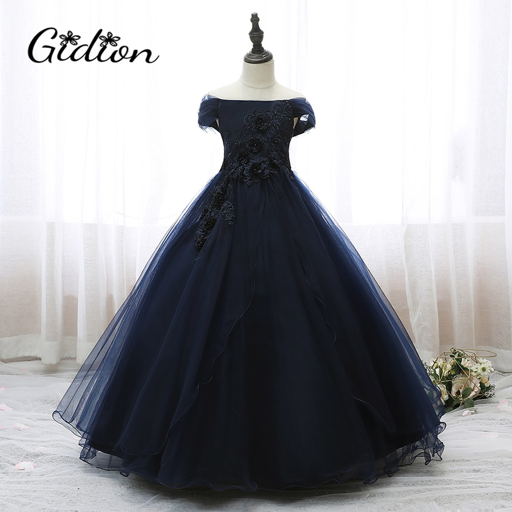 2020 Children Wedding Dress Kids Embroidered One-Shoulder Mesh Girl Piano Performance Costume Baby Christmas Clothes