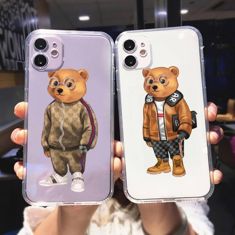WQJ Cute bear fashion brand fundas capa Phone Case For iPhone 12 Mini 11 Pro XS Max X XR 7 8 Plus