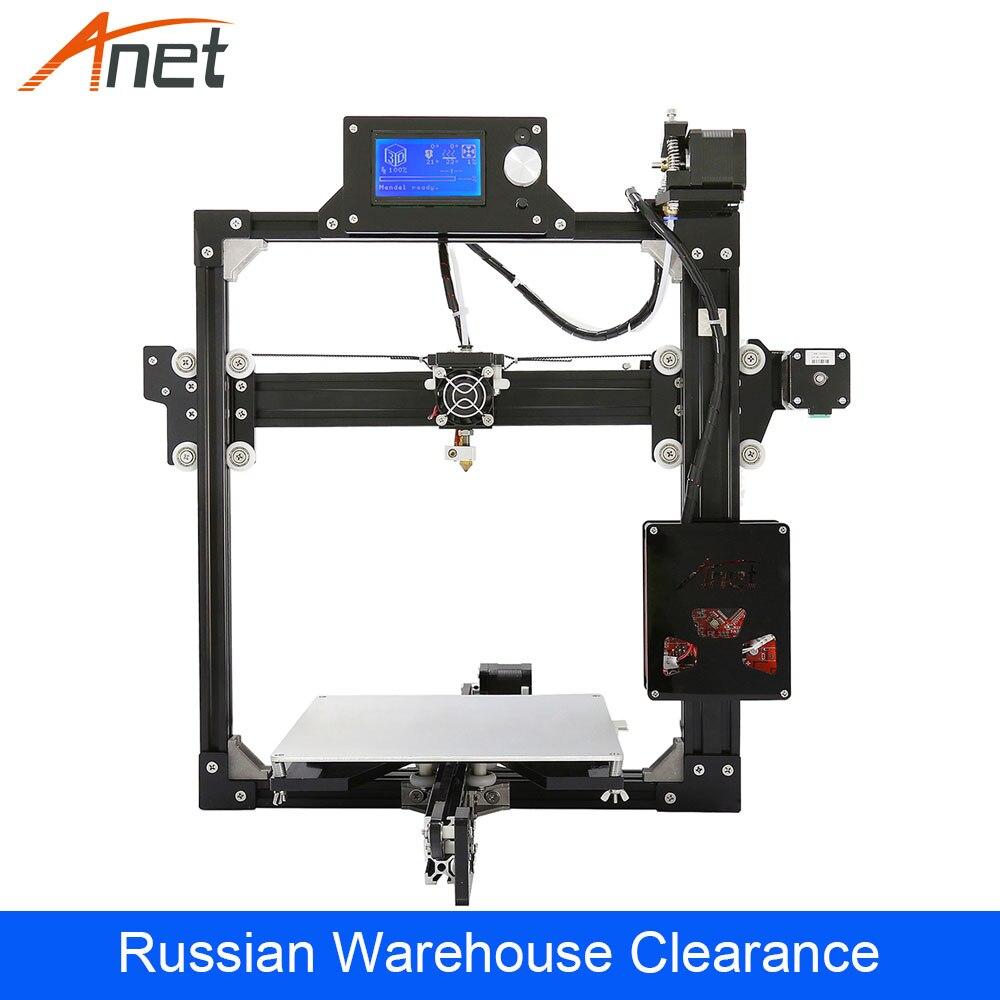 Anet A2 impresora 3D marco de Metal completo fácil de montar Reprap i3 DIY Kit 2004/12864 LCD ruso almacén liquidación
