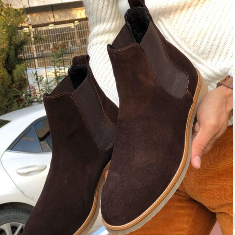 autumn winter men s chelsea boots british style fashion ankle boots black brown grey brogues soft leather casual shoes business Men New Autumn and Winter Brown Faux Suede Chelsea Boots Business Dress Boots British Style Simple Classic Men Boots  XM431