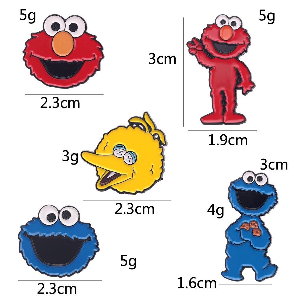 Mode Sesam Straße Pin Elmo Cookie Metall Anime Cartoon Revers Abzeichen Männer Emaille Brosche Cosplay Sammlung Schmuck Geschenk