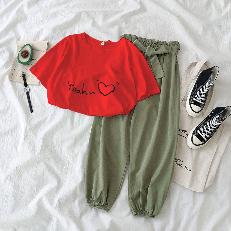 Nueva ropa de dos piezas con estampado de letras, pantalones informales para mujer, traje negro rosa para mujer, conjunto de dos piezas, camiseta y pantalones coreanos, ropa