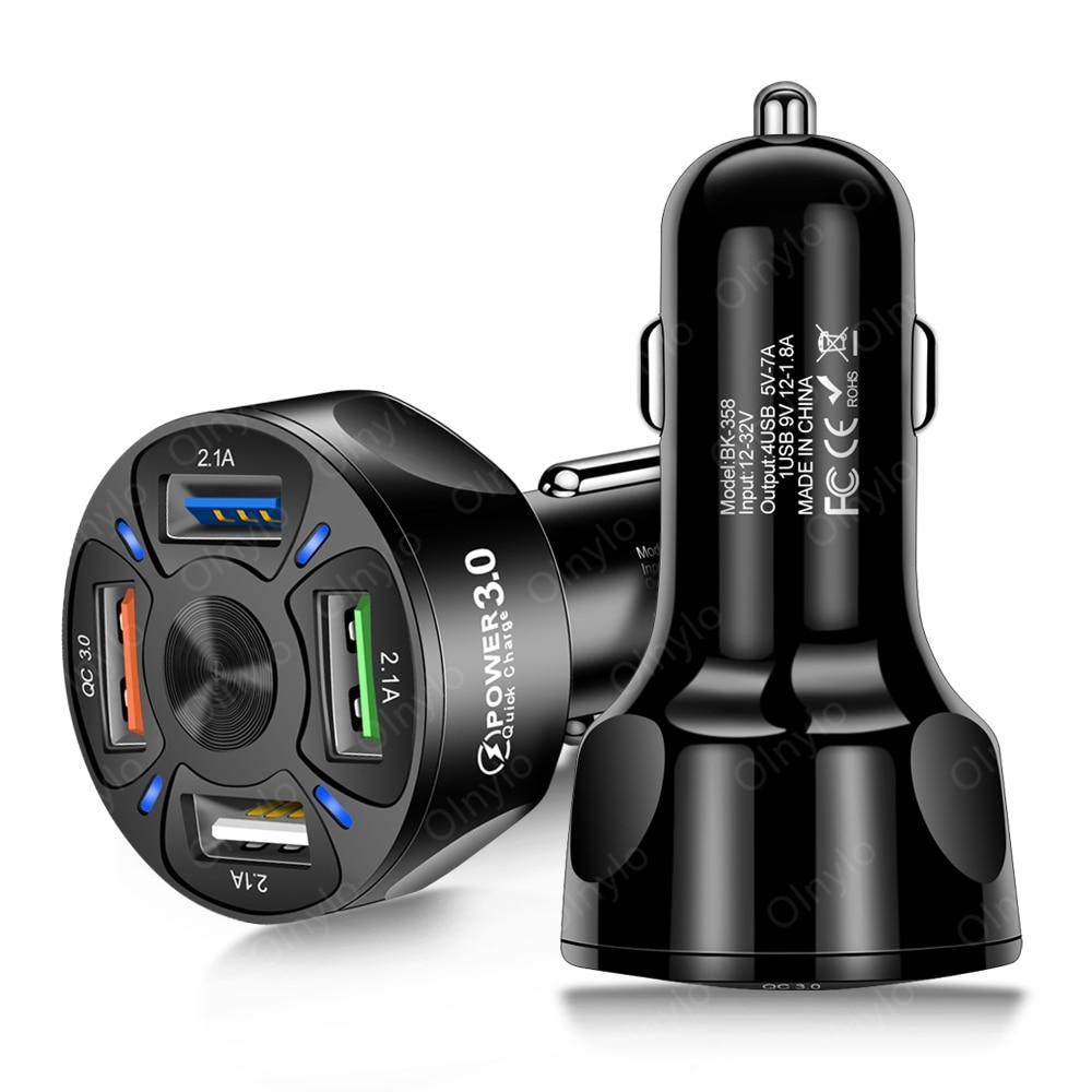 5v 3a carregador de carro carga rápida 3.0 4.0 portátil adaptador de carregamento rápido 4u portas para xiaomi iphone celular no carro-carregador