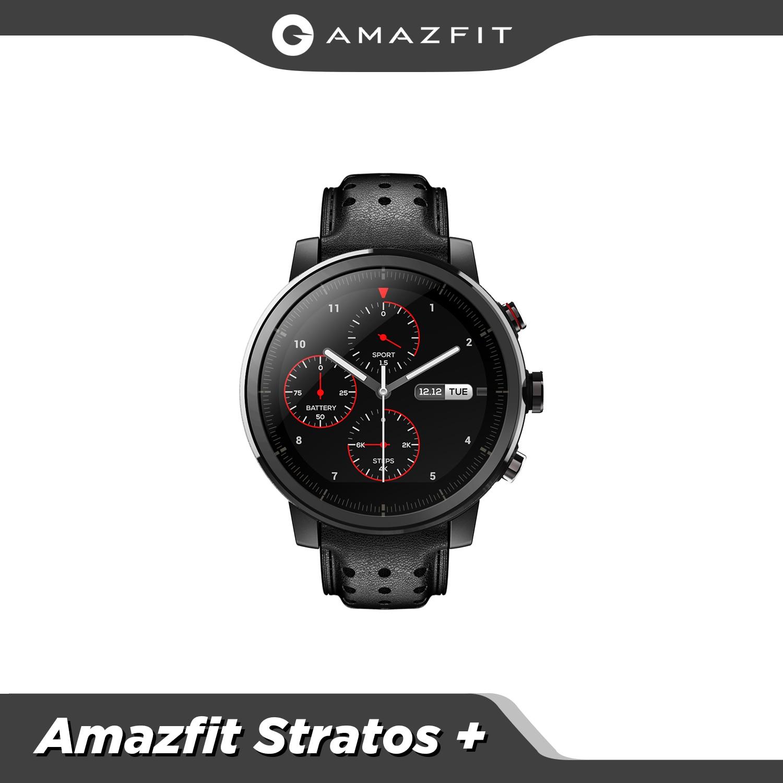 Amazfit-ساعة متصلة Stratos ، إصدار عالمي ، سوار جلدي مقاوم للماء حتى 5atm ، مع صندوق هدايا ، الياقوت ، GPS ، GLONASS ، لنظامي IOS
