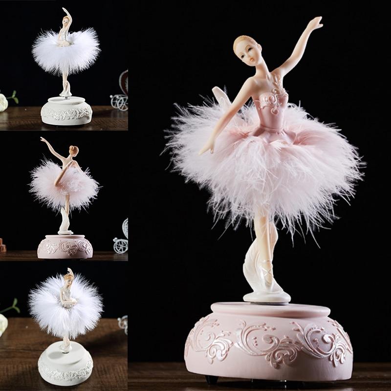 Ballerina Music Box Dancing Girl Swan Lake Carousel with Feather for Birthday Gift AUG889