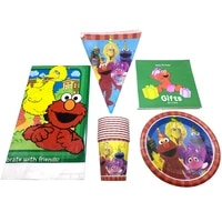 51pcs sesame street baby shower tablecloth plates cups decorations kids favors dishes tableware set birthday party napkins flags