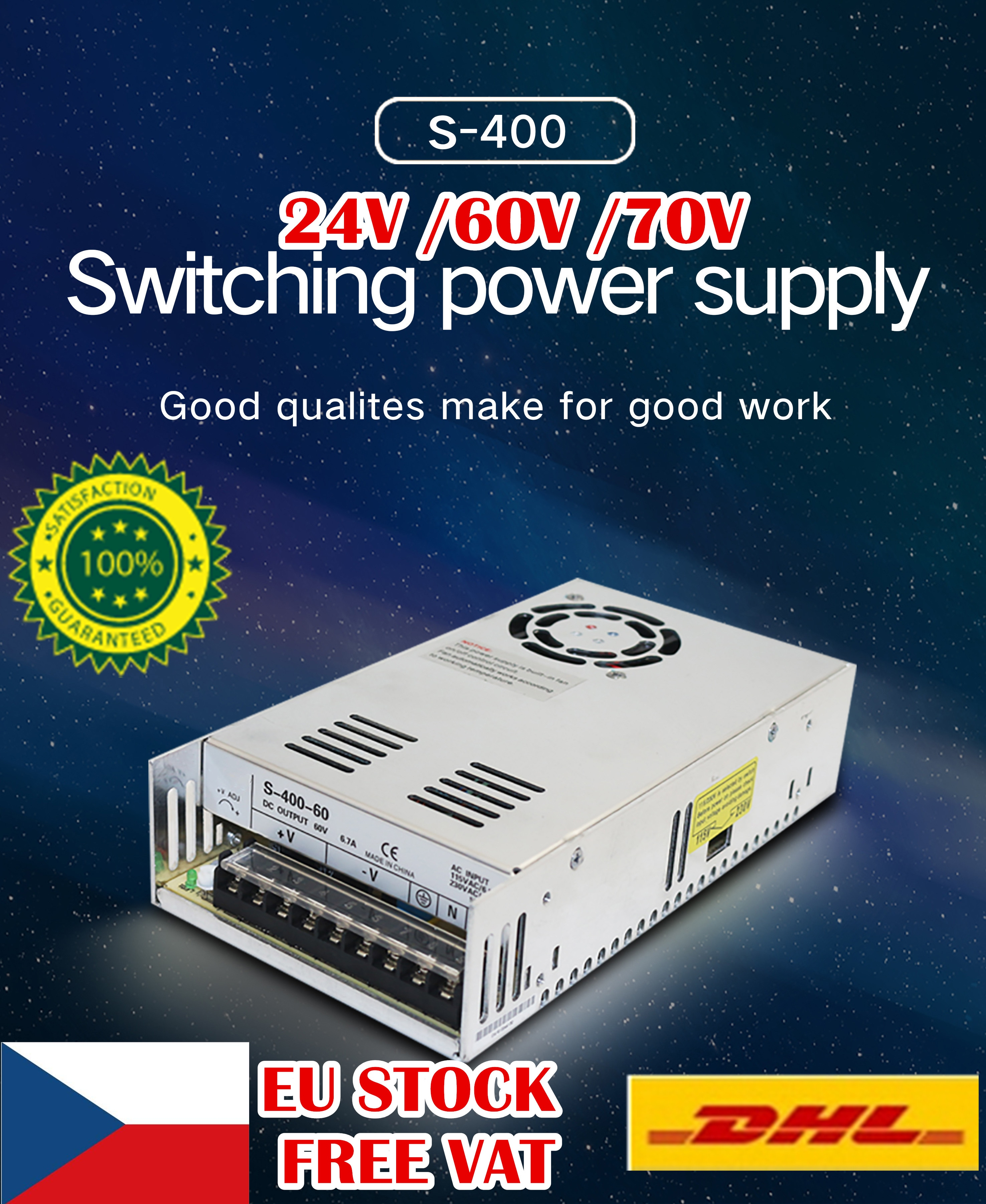 [EU Free VAT] 400W 24V /60V / 70V DC Switch Power Supply S-400 CNC Router Single Output Foaming Mill Cut Engraver Plasma