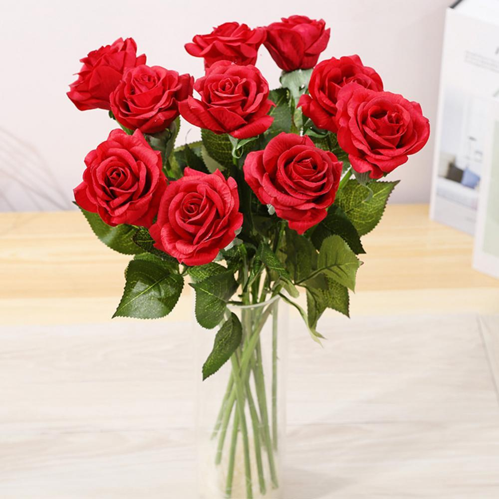 1Pc Artificial Rose Flower Valentines Day Gift Silk DIY Family Wedding Party Decoration