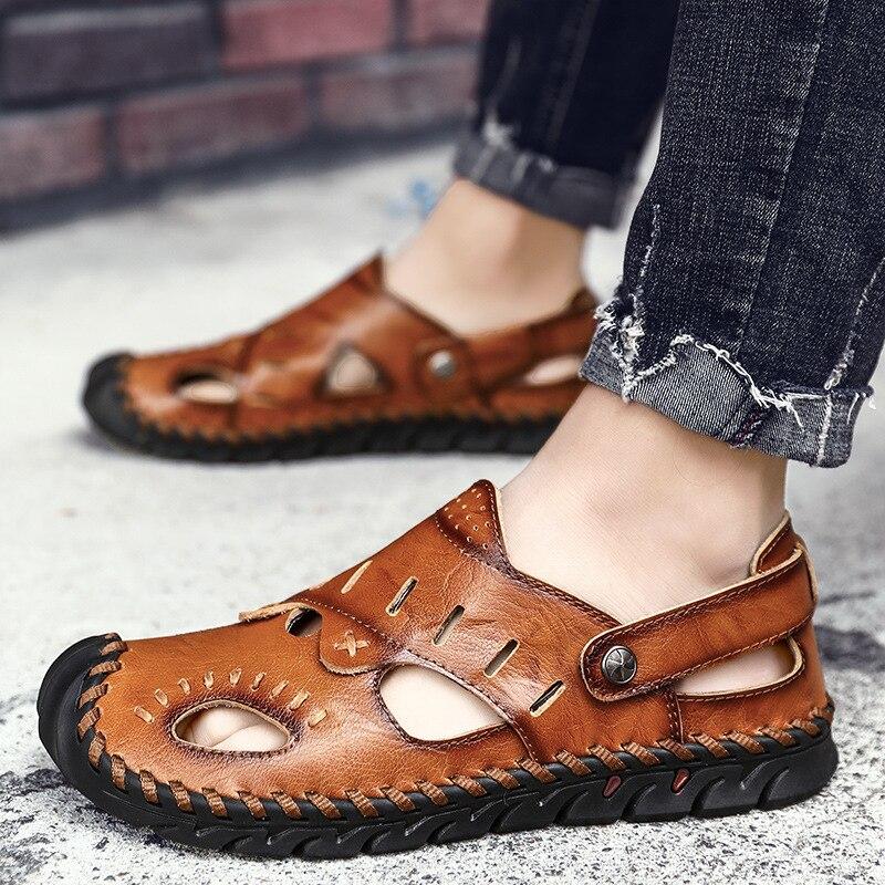 Men's Sandals Summer Soft Sandals Comfortable Men Shoes Genuine Leather Sandals Big Size Soft Outdoor Men Roman Sandals 698