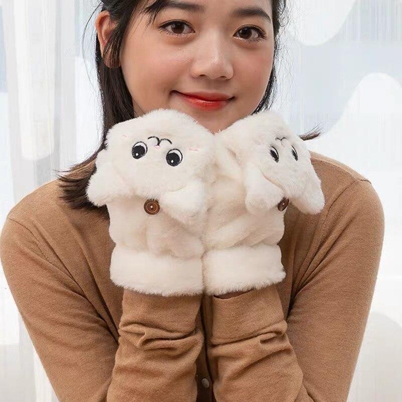 cartoon cat soft adorable warm winter girl half finger gloves