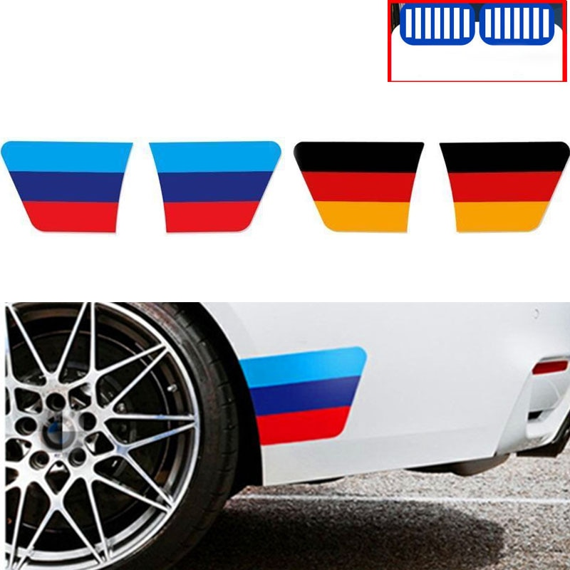 Para Bmw X1 X3 F25 X5 F15 F20 F30 F10 F11 G01 X4 G02 F26 X2 Z4 X6 E53 X7 3 colores M rendimiento del coche cuerpo guardabarros Feadlight etiqueta engomada