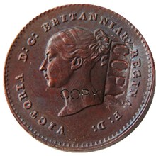 A set of (1839-1868)5pcs UK Great Britain / Ceylon Victoria Quarter Farthing Copper Copy coins