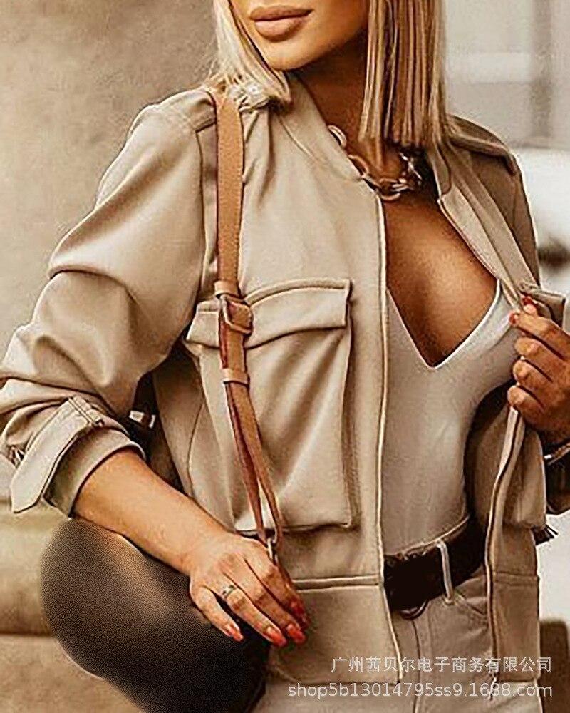 Женские куртки с карманами, пикантные короткие куртки с длинным рукавом, Осенние новые стили, женские модные куртки