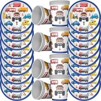 40pcslot cartoon engineering car baby shower party disposable set birthday party decoration kids party supplies cup plate