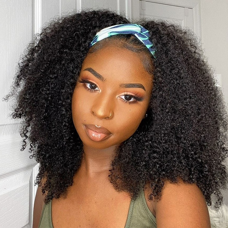 Glueless WIGMY Afro Kinky Curly Silk Headband Wigs Human Hair for Black Women Brazilian Half Wigs for Black Women