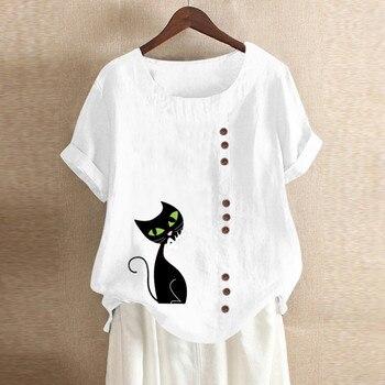 Женская рубашка свободного покроя, однобортная рубашка, Женская Повседневная Свободная льняная рубашка размера плюс с принтом в стиле бохо...