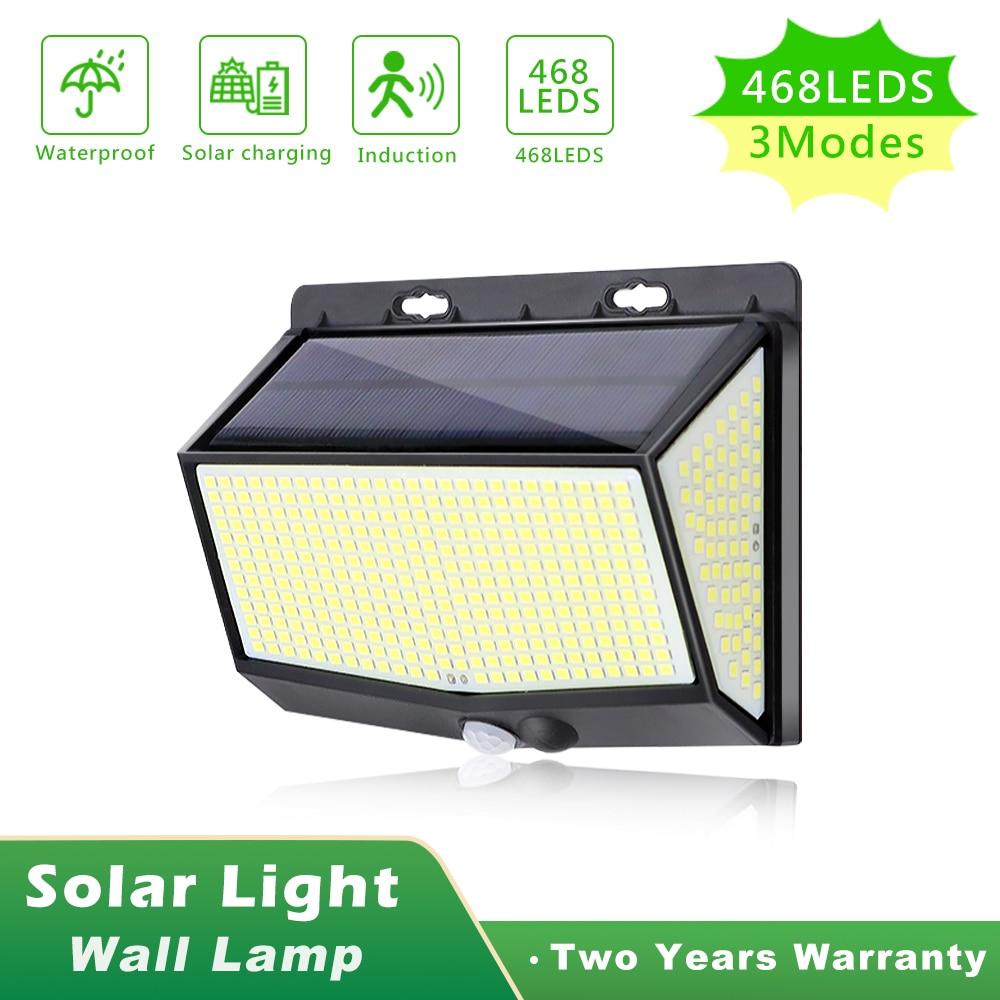 468 LEDs Outdoor Solar Light Super Bright With Motion Sensor Solar Powered Sunlight Spotlights For Garden Decoration Wall Lamp
