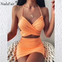 Nadafair MINI ชุดเซ็กซี่ Ruched Halter PARTY Backless Bodycon Club ฤดูร้อนผู้หญิง 2020