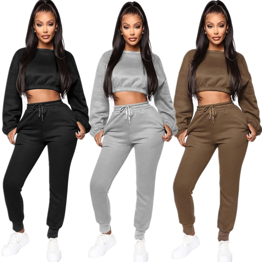 2020 New Winter Thick fleece Hoodies Tops Pants Two Piece Set Women Tracksuit Crop Top Trousers Casual Sportswear Matching Suits