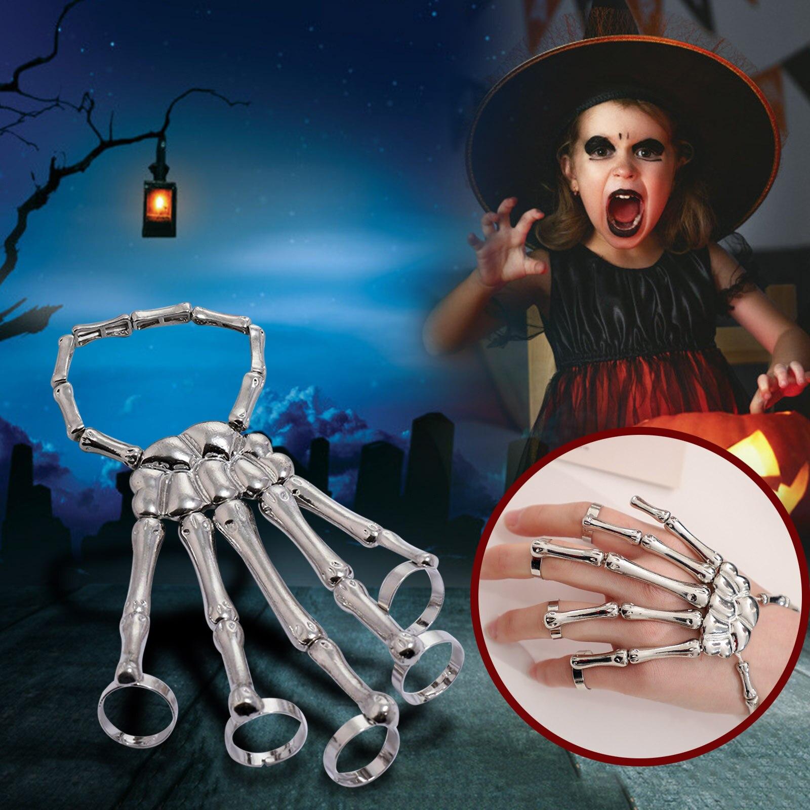 Halloween Bracelet Punk Steam Gothic Hand Skull Skeleton Elastic Adjustable Bangle Femme Party Accessorie Women Man Jewelry Gift