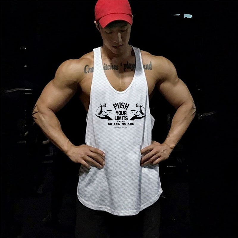 Summer Men's Muscle Tank Loose Fit Sports Sleeveless T shirt Mens Gym Clothing Fitness Training Racer Back Bodybuilding Tank Top