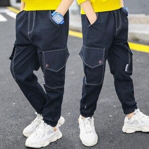 EACHIN Boys Pants Spring Fashion Trend Child Cargo Pants Children Casual Soild Big Pocket Trousers Teenage Straight Full Pants