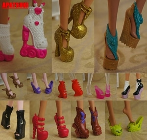 10pairs/lot Mix Style Doll Shoes High Heel Shoes For Monster High Dolls Sandals Shoes For 1/6 Monster Dolls Accessories Kids